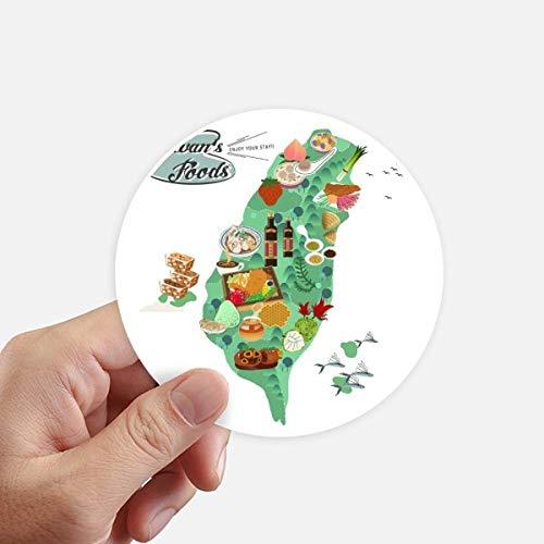 DIYthinker Taiwan Foods Carte Chine Honey Round Café Autocollants 10CM Mur Valise pour Ordinateur Portable Motobike Decal 8Pcs diamètre 10cm Multicolor