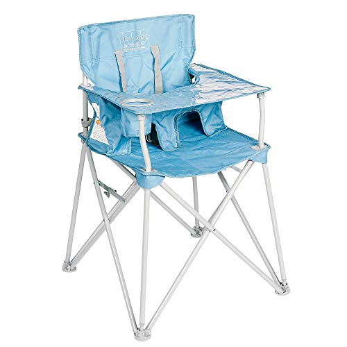 ciao! baby Portable High Chair for Babies and Toddlers, Fold Up Travel High Chair with Tray, Slate Blue