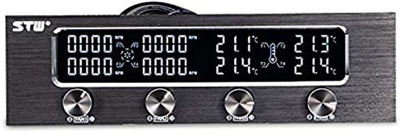 BIN BON  STW Pc 5.25 Inch Drive Bay Full Brushed Aluminum 4 Channel PWM Fan Controller with LCD Screen