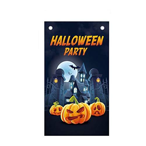 UKtrade Feliz Halloween Tema Decorativo Cartel Bar Fiesta Bandera Colgante Banner Cinema Noche Fondo Decoración Casa Sala Decoración Puerta Ornamento (D)