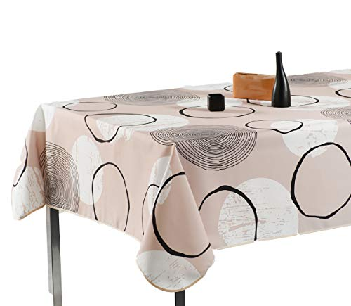 60 x 120-Inch Rectangular Tablecloth Beige with Black and White Circle, Stain Resistant, Washable, Liquid Spills, Seats 10 to 12 People (Other Size: 63-Inch Round, 60x80-Inch, 60x95-Inch)