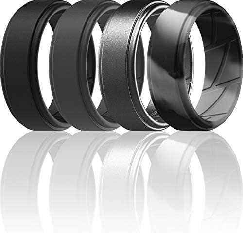 ThunderFit Silicone Wedding Ring for Men Black Dark Grey Grey Camo Gunmetal 11 5 12 21 3mm product image