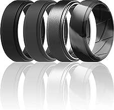 ThunderFit Silicone Wedding Ring for Men (Black, Dark Grey, Grey Camo, Gunmetal, 8.5 - 9 (18.9mm))