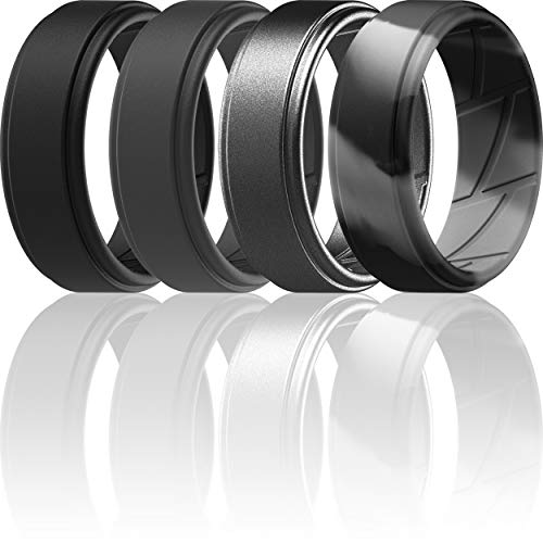ThunderFit Silicone Wedding Rings for Men Breathable Airflow Inner Grooves - Step Edge Sleek Design Breathable Rubber Engagement Bands - 8mm wide - 2mm Thick