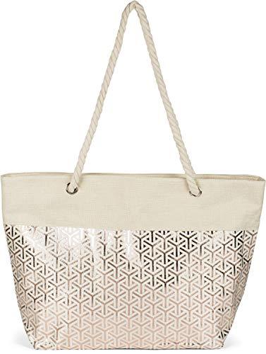 styleBREAKER Damas XXL Gran bolso de playa con patrón metálico infinito y cremallera, bolso de hombro, comprador 02012347, color:Beige de oro rosa
