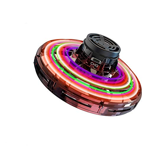 Flynova Mini Drone Flying Toy-UFO Drone Helicopter Flying Spinner for Kids or Adults, Free Flight Paths with 360° Rotating and Shinning Led Lights Use for Group, Indoor, Outdoor (Red)