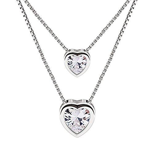 B. Catcher, collana doppia con doppio ciondolo a forma di cuore in argento Sterling 925