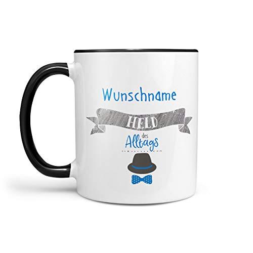 Sunnywall® Tasse Wunschname Held des Alltags Kaffeebecher individuell Lieblingstasse Geburtstags-Tasse personalisiert Geschenk-Tasse inkl. Geschenkkarte