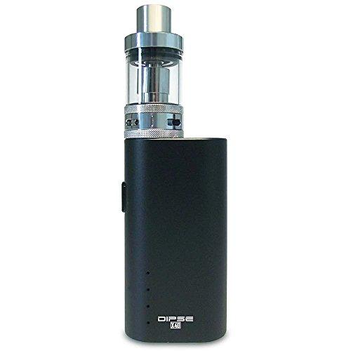 Dipse X40 Kit E Zigarette e Shisha - 40w Box Kit 2200mAh - 2ml 0,5 Ohm Atomizer mit 2,5mm dicken Glas (auslauf- und bruchsicher) - schwarz - eZigarette eShisha eDampfen (ohne Nikotin)