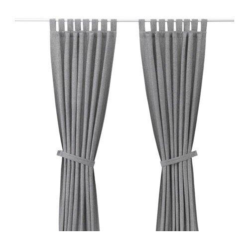 IKEA LENDA 2 cortinas + alzapaños en gris; (140 x 300 cm)