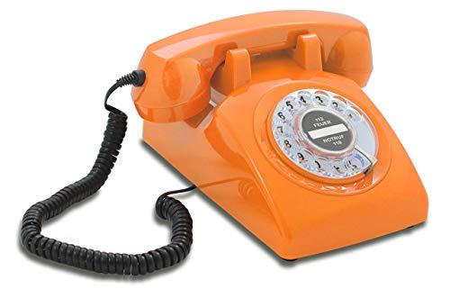 Opis 60s Cable: Klassisches Telefon der 60er und 70er mit schwarzem Deutsche Post Pappeinleger/Retro Telefon im sechziger Jahre Vintage Design mit Wählscheibe und Metallklingel (orange)