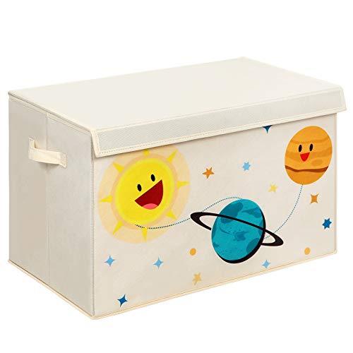 SONGMICS Aufbewahrungsbox, Spielzeug-Organizer, Faltbox, Stoffbox mit 2 Griffen und Deckel, Aufbewahrungskiste für Kinderzimmer, Spielzimmer, Schlafzimmer, Schrank, beige RFB003W01