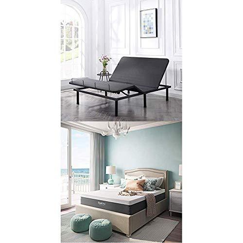 Classic Brands Affordamatic 2.0 Black Adjustable Bed Base - Queen + Cool Gel Ventilated 12-Inch Memory Foam Mattress