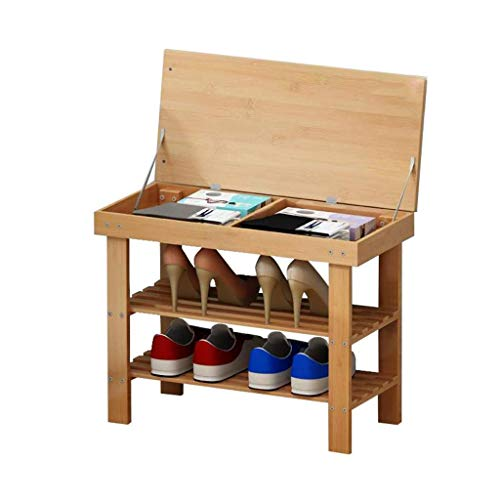 Yyqx Almacenamiento de Zapatos Zapatero de bambú y Capa de Almacenamiento Banco de Zapatos Simple for Entrada de vestíbulo Dormitorio Zapatero (Size : 58cm)