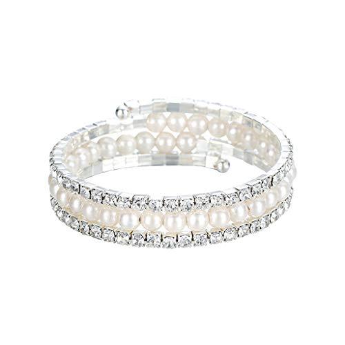 POTOU Damen-Armband Frauen for Damen 7cm Muttertag Perle Strass (B)