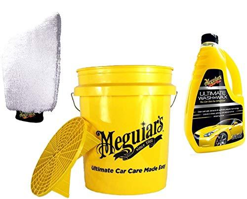 Meguiar's PRAKTISCHES Auto WASCHSET! MEGUIARS Wascheimer Eimer GRIT Guard 18,9 L + AUTOSHAMPOO G17748EU Shampoo Ultimate Wash & Wax 1420 ML + Waschhandschuh E102EU Ultimate WASH MITT