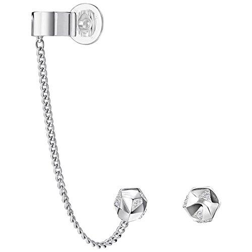 Swarovski Pendientes para mujer con cristales transparentes de corte redondo chapados en platino, 5226178