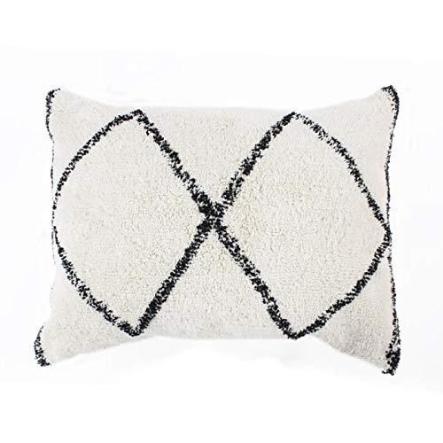 Berber Box kussen - 60 x 80 cm - natuurlijk wit en zwart