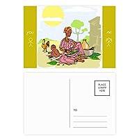 黒人女性のアフリカの原住民の子供のトーテム 友人のポストカードセットサンクスカード郵送側20個