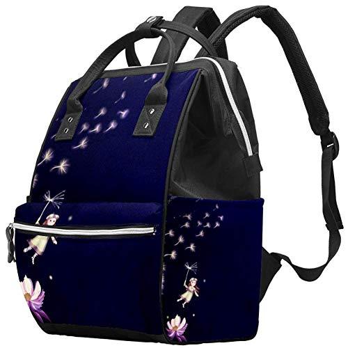 Grand sac à langer multifonction pour bébé - Sac à dos de voyage - Pour maman et papa - Fantasy Flying Little Girl et pissenlit