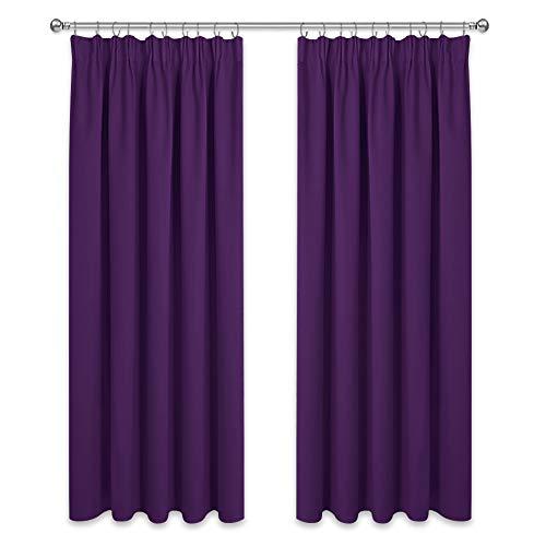 PONY DANCE Blickdichte Vorhänge mit Kräuselband - 2er Set H 175 x B 140 cm Thermo Gardinen Blickdicht Violett Verdunkelungsgardine Schlafzimmer