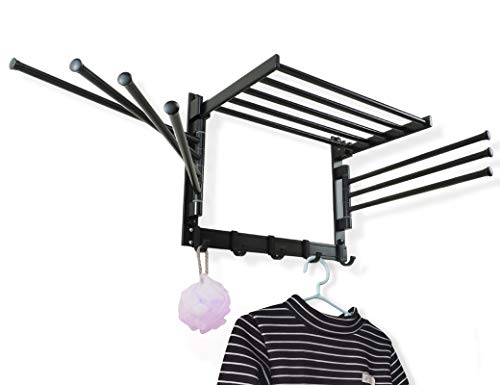 INATSUNNY Laundry Clothes Drying Rack - Wall Mounted Swivel Towel Rack - with Hooks and Swing Arms - Space Saver in Laundry Room and Bathroom - Space Aluminum (Black)