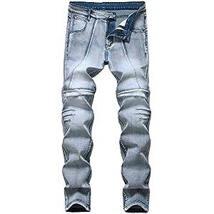 Men's Skinny Slim Fit Stretchy Fashion Biker Jeans Distressed Tapered...