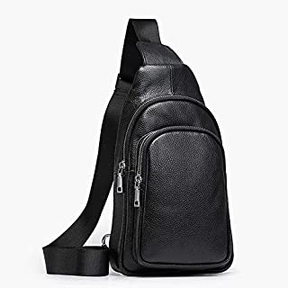 Oivias Chest Bag for Men, Leather Crossbody Shoulder Bag, Sling Bags Backpack Messenger Bag Daypack for Business Casual Sport Hiking Travel(Size:17 * 9 * 30cm)