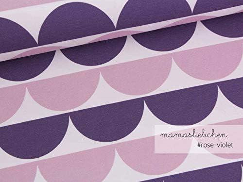 """Jersey-Stoff Damen Mädchen rosa lila Bordüre /""""iloveruffles #rose-violet/"""" 0,5m"""