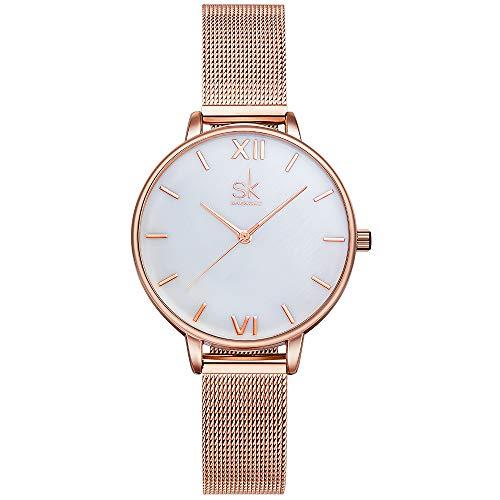 SHENGKE- Reloj de Pulsera para Mujer, Correa de Malla, Elegante, para Mujer, Estilo Simplicidad (K0056-natural Shell dial)