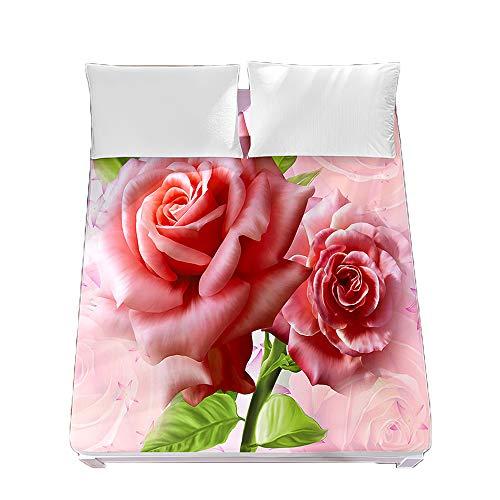 Sábana Bajera Ajustable Colchones Decorativa 3D Color Rosa Impresión, Chickwin Suave Transpirable Microfibra Tela- Elástico en el Borde Bolsillo Profundo 30cm (Rosa Rosa 4,150x200x30cm)