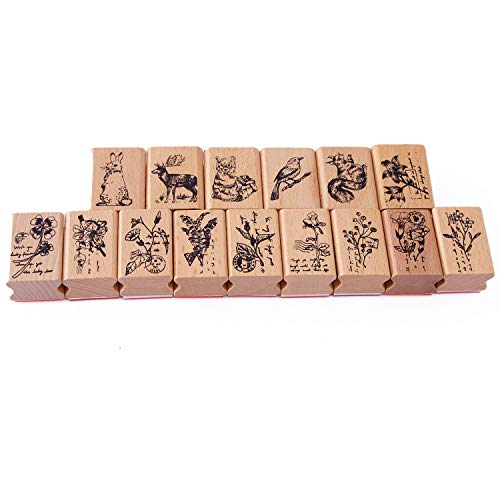 Holz Stempel 15-Teilig Stempelset Gummi Tagebuch-Einklebebuch-Stempel stellte Tiere und Pflanzen-Waldmuster ein f¨¹r DIY Bastelbedarf
