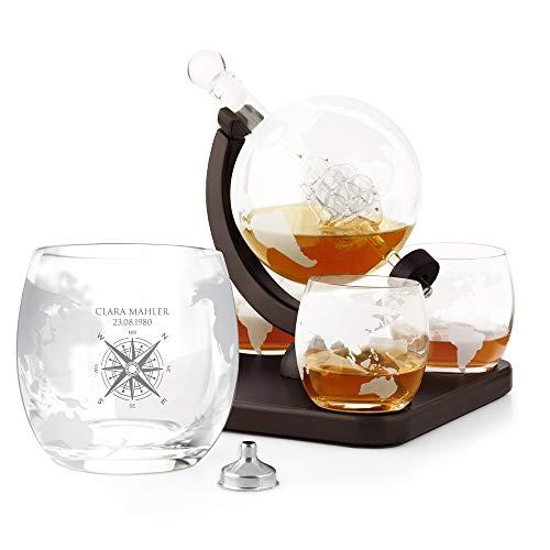Murrano Whisky Karaffe mit Gravur - Globus mit Schiff, 850 ml - 4er Whiskygläser Set - Whisky Dekanter - Personalisiert - Windrose