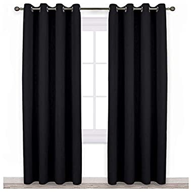 NICETOWN Blackout Curtain Panels 84  - Light Reducing Thermal Insulated Solid Grommet Blackout Curtains/Panels / Drapes for Livingroom (Set of 2, 52 Inch by 84 Inch, Black)
