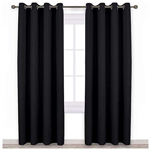 NICETOWN Blackout Curtain Panels 84 inches - Light Reducing Thermal Insulated Solid Grommet Blackout Curtains/Panels/Drapes for Living Room (Set of 2, 52 inches by 84 Inch, Black)