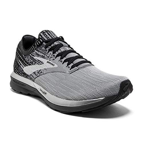 Brooks Mens Ricochet Running Shoe - Grey/Black/Ebony - D - 10.5