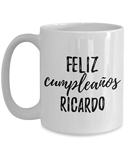Feliz Cumpleanos Ricardo Mug Spanish Happy Birthday Personalized Name Gift Coffee Tea Cup Large 15 Oz