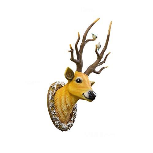 YONGYONGCHONG Hirschkopfskulptur Fortune-Deer Rotwild-Kopf-Wandbehang Wanddekoration Geeignet for Wohnzimmer Schlafzimmer-Hintergrund-Wand Modernen Minimalist Licht Luxus Wanddekoration Kunsthandwerk