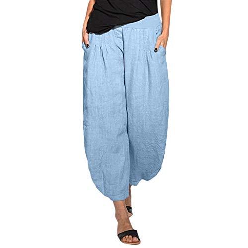 Malloom Femmes Pantalon Taille Basse Vrac Doux Leggings de Yoga Sport Entraînement élastique Pants de Coton et Lin
