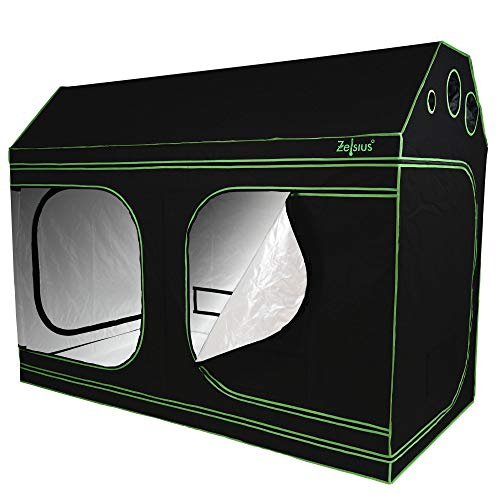 Zelsius Grow tent MyHomeGrow for sloping attic | Indoor Growing kit | black green | hydroponics Growroom Darkroom Greenhouse (240 x 120 x 180 cm)