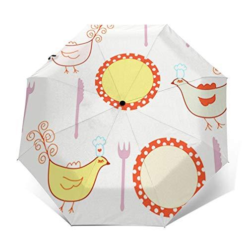 Regenschirm Taschenschirm Kompakter Falt-Regenschirm, Winddichter, Auf-Zu-Automatik, Verstärktes Dach, Ergonomischer Griff, Schirm-Tasche, Punkt Kochplatten Vogel