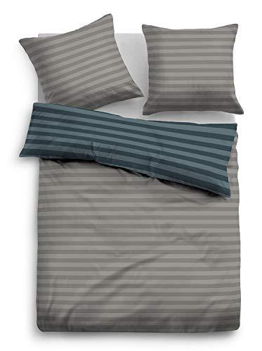 TOM TAILOR 0009937 Flanell Bettwäsche Garnitur mit Kopfkissenbezug (Baumwolle) 1x 155x220 cm + 1x 80x80 cm, Jeans