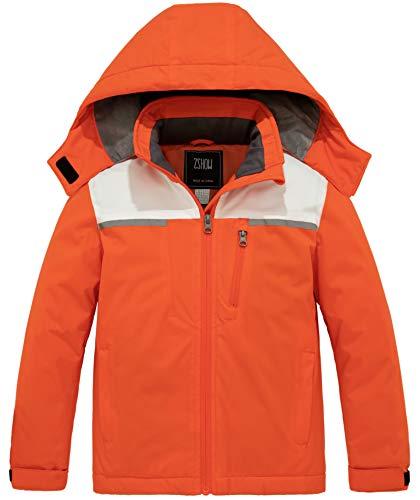ZSHOW Girls' Waterproof Ski Jacket Fleece Lined Windbreaker Winter Coat(Orange,10-12)