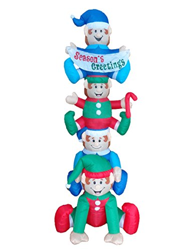 BZB Goods 8 Foot Tall Christmas Inflatable Stacking Elves with LED Lights Decor Outdoor Indoor Holiday Decorations, Blow Up Lighted Christmas Yard Decor, Giant Lawn Inflatable for Home Family Outside