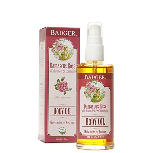 Badger - Body Oil, Damascus Rose, Certified Organic Body Oil, Natural Body Oil, Skincare Oil, Body Oil Organic, After Shower Body Oil, Body Oil for Women, Moisturizer Body Oil, 4 oz