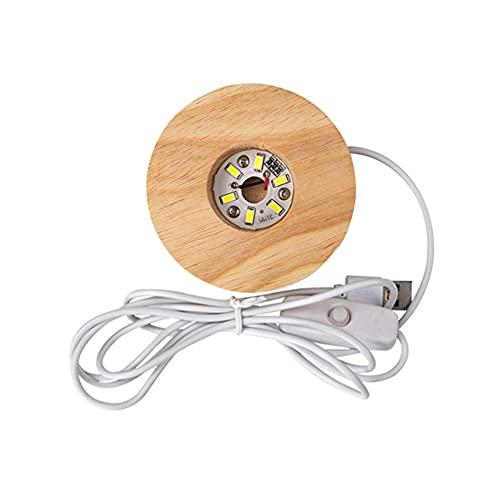 Moldes de resina epoxi de luz nocturna de bola de cristal, molde de resina de luz redonda de esfera grande, juego de moldes de silicona con base iluminada LED de madera, decoración de lámpara de mesa