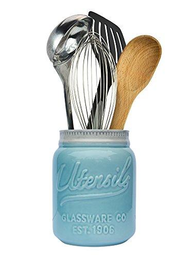 Mason Jar Utensilien Halter von Comfify - Chip beständig Keramik, Geschirrspüler sicher -Küche Caddy - perfektes Geschenk für Küche - Aqua blau, Größe 17.78cm hoch