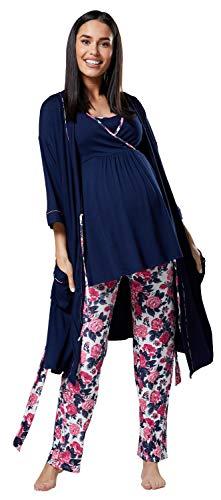 HAPPY MAMA Mujer Maternidad Conjunto Pijama/Pantalones/Cima/Bata 558p (Azul Marino y Crudo con Flores, 40, L)