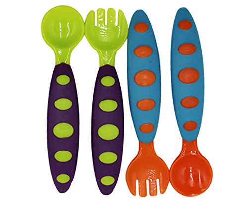 Cuddty Baby-Löffel und Gabel Set Baby Spork und Case Spork Plastic mit Messer für Kleinkinder 2erSet