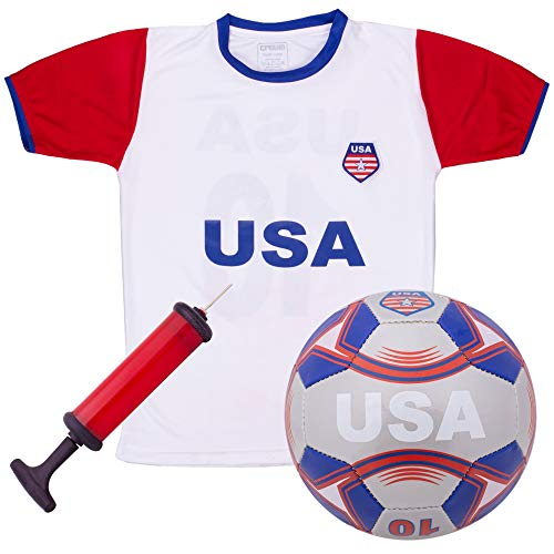 USA National Team Kids Soccer Kit   Cheer On Your Team and Wear Your National Colors   Kit Includes a Jersey, Shorts, and Soccer Ball Adorned with Red, White, and Blue Design (Large)